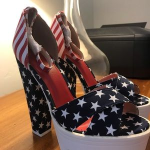 Red white blue heels patriotic stars and stripes